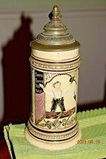 Antique Diesinger Threaded Bowling German Beer Stein, Knight, Pewter, Circa 1900