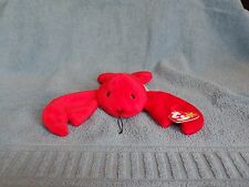 1993 Pinchers Ty Beanie Babies Baby Lobster PVC Pellets Tag with Errors
