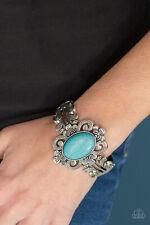 Paparazzi jewelry turquoise bead flower silver center cuff like bangle bracelet
