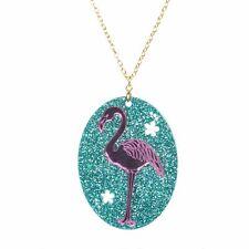 Acrylique Flamant Collier Par Amour Boutique Rétro Kitsch Glitter Rose/Turquois