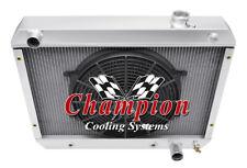 """3 Row ER Radiator W/ 14"""" Fan for 1963 64 1965 Chevrolet Chevy II Nova Factory V8"""
