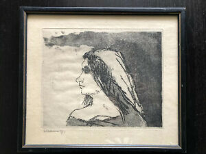 Vintage 1971 German SIGNED Willems Art Print Etching Lady Woman Face Bust Framed