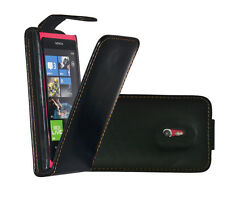 BLACK FLIP LEATHER CASE FOR NOKIA LUMIA 800