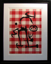 "Joan Miro ""L'ILLETRE AU CARREAUX ROUGE"" w/ black frame Hand Signed"