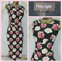 🎀 PHASE EIGHT UK 10 🎀 PINK ROSE FLORAL STRETCH PENCIL WIGGLE OCCASION DRESS 🎀
