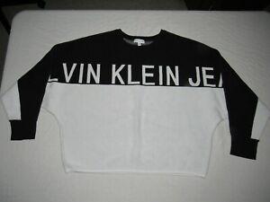Calvin Klein Jeans Women's Black White Long Sleeve Sweater Size XL