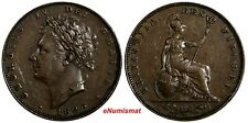 Great Britain George IV Copper 1826 Farthing 1st Date for Type KM# 697