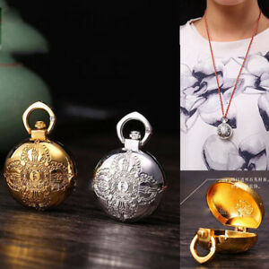 Oblate Pill Box Necklace Stainless Steel Storage Bottle Container Case Pendant