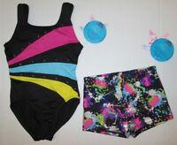 New Girls XS 4-5 Child Leotard Shorts Set Dance Gymnastics Cheer Moret Lot S