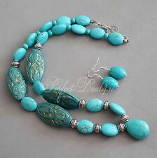 Blue Turquoise Howlite & Etched Vintage Style Beads Necklace & Earrings 925 Set