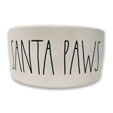 "Rae Dunn Santa Paws 6"" Pet Bowl 2.5"" Depth Red Ivory Christmas Dog Puppy Holiday"