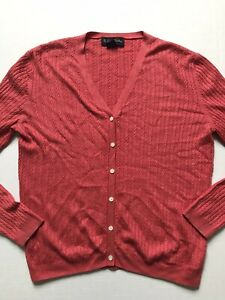 Brooks Brothers Womens Sz L Coral Silk/Cashmere Cable Knit Cardigan Sweater