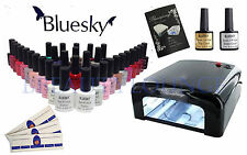 Bluesky Nail Gel Polish Starter Kit Black 36W UV Lamp+3 Colours WITH FREE GIFT!!