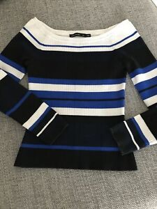 BNWT KAREN MILLEN NAVY STRIPE OFF SHOULDER JUMPER UK M 10