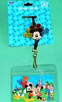DISNEY THEME PARK TICKET HOLDER FASTPASS HOLDER NEW LANYARD WITH MICKEY BALLOONS
