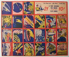 1950's Flip Cards Inc. Jules Verne A Trip Around the Moon - Uncut Sheet - Mint