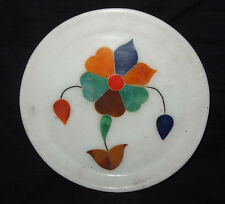 "7"" Marble Decorative Plate Mosaic Floral Fine Design Inlaid Marquetry Home Gift"