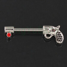 Body jewelry Nipple ring Antique Gun Piercing 14mm bars barbell red Nickel free