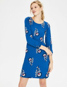 boden lucie jersey tunic dress size 10 reg cobalt island sprig colour j0351