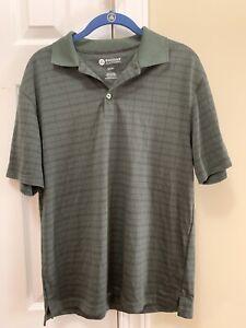 Haggar Dark Green Block Pattern Polo/Golf Shirt, Men's Small