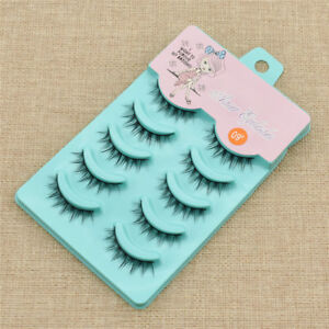 5 Pairs Lolita Cosplay False Eyelashes Black Makeup Faux Long Natural Cross Lash