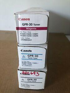 THREE New Canon OEM GPR-30 Toners Black Cyan Magenta - Sealed Boxes