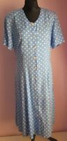 VTG Ladies Unbranded Pale Blue/White Polka Dot Button Through Dress Size 14