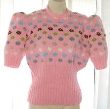 "FLOATING CIRCLES Pink Hand Knitted Jumper Kaffe Fassett Design size 38"" Bust"