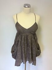 ALL SAINTS LIGHT BROWN THEO SMOCK CAMISOLE TOP SIZE 8