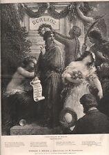 HOMMAGE ANNIVERSAIRE HECTOR BERLIOZ FANTIN LATOUR  1886 GRAVURE ANTIQUE PRINT