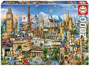 Educa Jigsaw Puzzle 2000 Parts Symbols of Europe 17697 Landmarks, 96 X 68 CM
