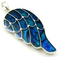 Natural Blue Abalone Shell 925 Sterling Silver Wing Pendant Women Jewelry SF010