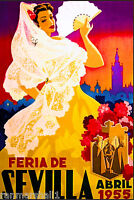 1955 Sevilla Seville Spain Europe European Vintage Travel Advertisement Poster