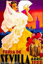 1955 Sevilla Seville Spain Europe European Vintage Travel Advertisement Poster