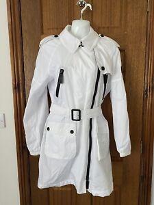 NEW BURBERRY Sport Ladies White Trench Coat Mac Zips UK 12 Belted Showerproof