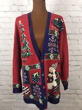 Vtg 1996 Marisa Christina Classics  Collection Christmas Sweater Cardigan L Ugly