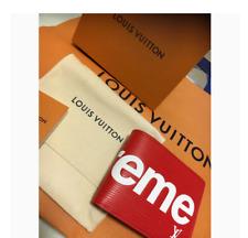 LOUIS VUITTON SUPREME PF Slender Bifold Wallet Red F/S