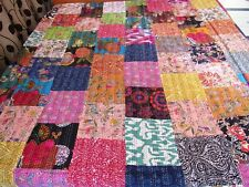 Kantha Quilt Patchwork Cotton Indian Bedspread Handmade Blanket King Size Crazy