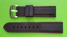 WATCH BAND BRACELET MONTRE* PVC   noir couture rouge   **20mm***  REF CM30