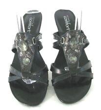 Strictly Comfort Sandals Shoes 9 M Black Leather Slides Heels Jeweled Gladiator