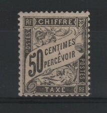 """FRANCE STAMP TIMBRE TAXE N° 20 """" TYPE DUVAL 50c NOIR """" NEUF x TB RARE  R777"""
