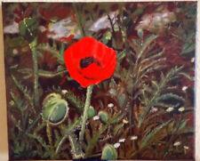 Stillleben, Mohnblume auf dem Felde, Öl auf Leinwand 30 x 25 cm (B x H)