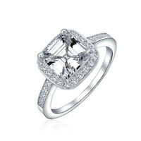 Square AAA CZ Asscher Cut 925 Sterling Silver Band 3CT Engagement Ring