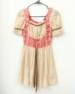 Candi Jones Prairie Peasant Dress Womens Size Small Midi Vintage Cosplay Anime