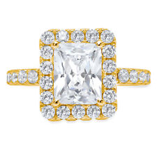3.7ct Emerald Round Cut Halo Solitaire Engagement Promise Ring 14k Yellow Gold