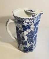 Vintage Blue and White Asian Ceramic Pitcher