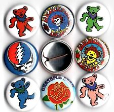 "Grateful Dead 8 NEW 1"" buttons pins badges bears JERRY GARCIA"