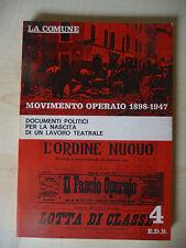 MOVIMENTO OPERAIO 1898 1947. LA COMUNE - E.D.B. 1971 - A8
