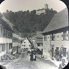 Antique Magic Lantern Glass Photo Slide Street In Hornberg Germany Castle