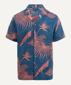 New Designer Reyn Spooner Palm Printed Summer Short Sleeve Shirt S Rrp £115